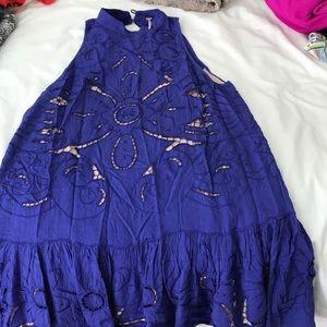 Free people blue high neck dress